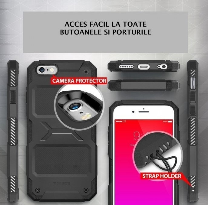 Husa Ringke REBEL GREY + folie Ringke cadou pentru iPhone 6 Plus / 6s Plus 1