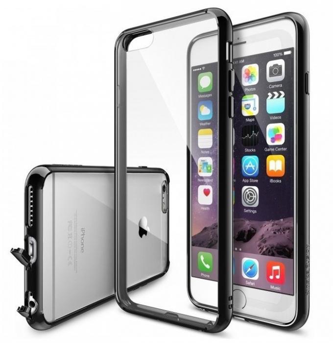 Husa Ringke FUSION NEGRU+BONUS Ringke Invisible Defender Screen Protector pentru iPhone 6 Plus / iPhone 6s Plus 0