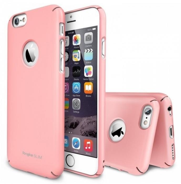 Husa Ringke SLIM PINK LOGO CUT+BONUS folie protectie display Ringke pentru iPhone 6 0