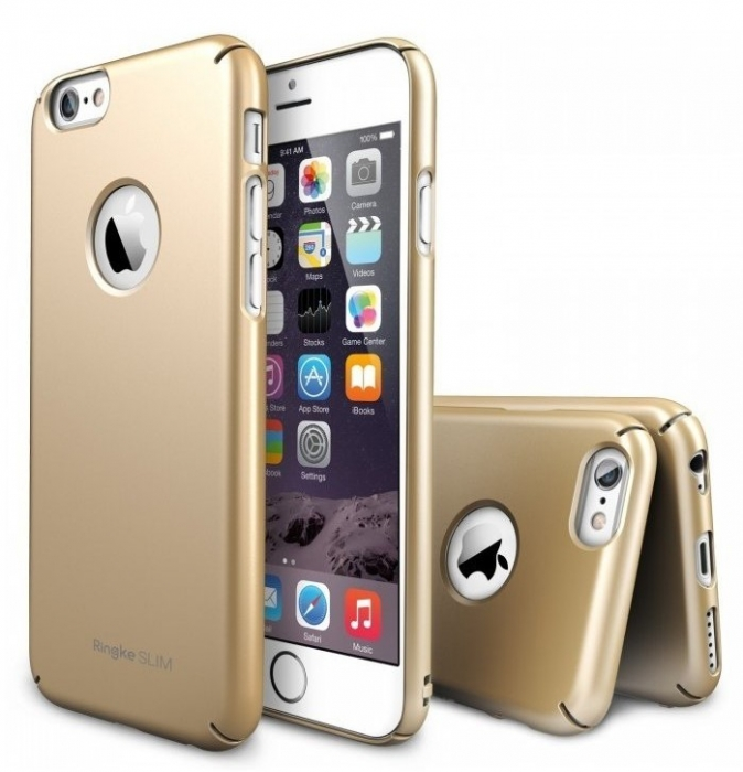 Husa Ringke SLIM ROYAL GOLD LOGO CUT+BONUS folie protectie display Ringke pentru iPhone 6 0