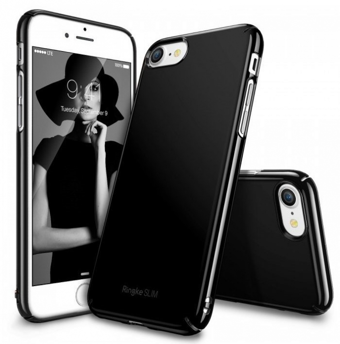 Husa Ringke Slim GLOSS BLACK pentru  iPhone 7  iPhone 8 0