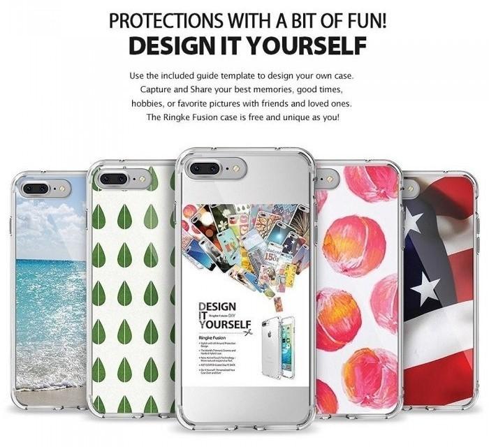 Husa Ringke FUSION ROSE GOLD + BONUS folie protectie display Ringke pentru iPhone 7 Plus / iPhone 8 Plus 1