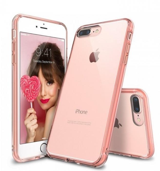 Husa Ringke FUSION ROSE GOLD + BONUS folie protectie display Ringke pentru iPhone 7 Plus / iPhone 8 Plus 0