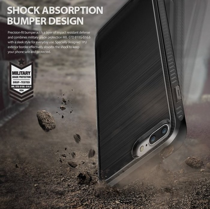 Husa Ringke ONYX MIST GRAY + BONUS folie protectie display Ringke pentru iPhone 7 Plus / iPhone 8 Plus 4