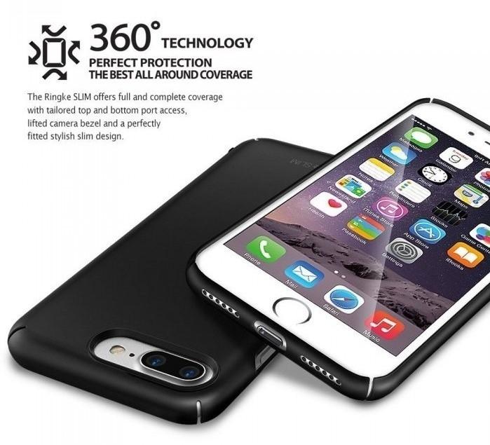 Husa Ringke Slim FROST GREY + BONUS folie protectie display Ringke pentru iPhone 7 Plus / iPhone 8 Plus 6