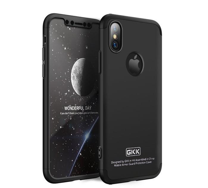 Husa iPhone X GKK 360 Logo Cut Negru + folie protectie display pentru iPhone X 5