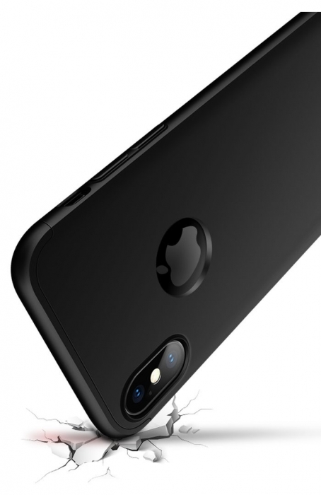 Husa iPhone X GKK 360 Logo Cut Negru + folie protectie display pentru iPhone X 1