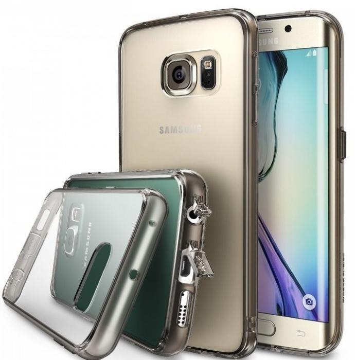 Husa Ringke FUSION Smoke Black + BONUS folie protectie display Ringke pentru Samsung Galaxy S6 Edge Plus 1