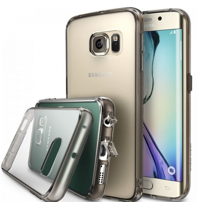 Husa Ringke FUSION SMOKE BLACK+BONUS folie protectie display Ringke pentru Samsung Galaxy S6 Edge 1