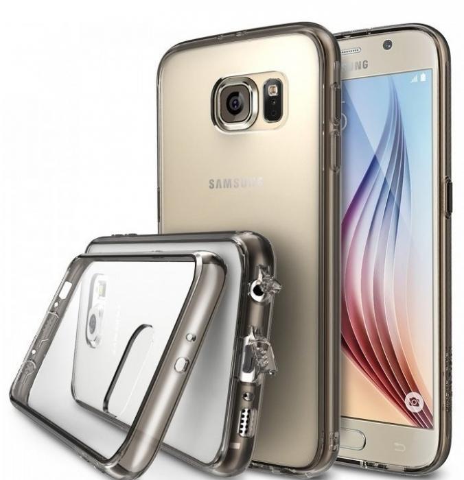 Husa Ringke FUSION SMOKE BLACK+BONUS folie protectie display Ringke pentru Samsung Galaxy S6 0