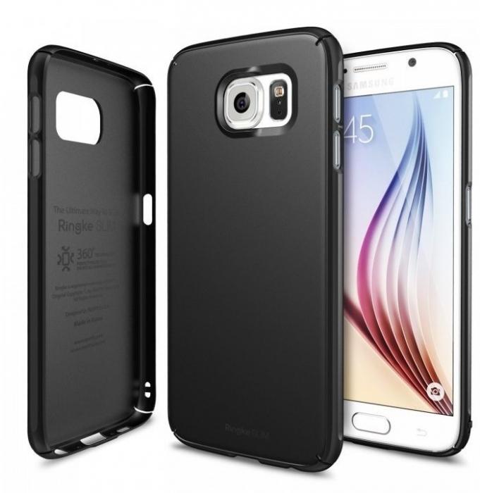 Husa Ringke SLIM SF BLACK+BONUS folie protectie display Ringke pentru Samsung Galaxy S6 0