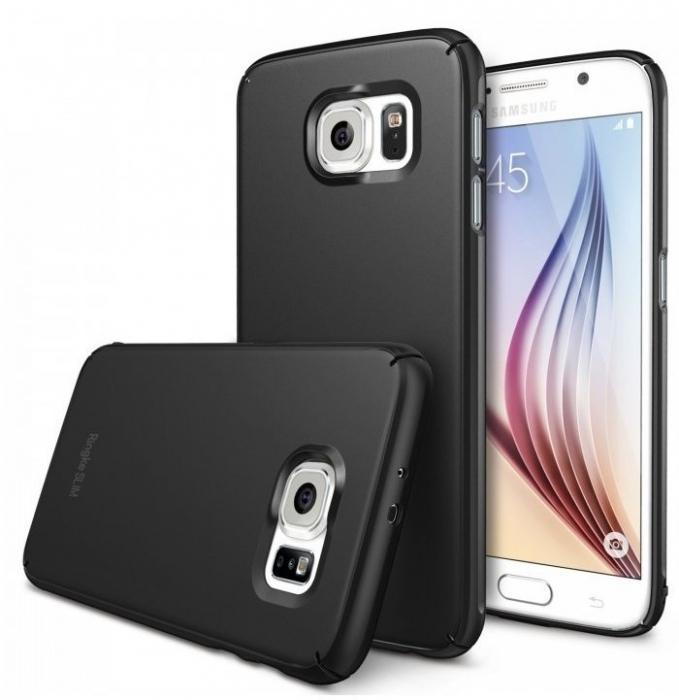 Husa Ringke SLIM SF BLACK+BONUS folie protectie display Ringke pentru Samsung Galaxy S6 1