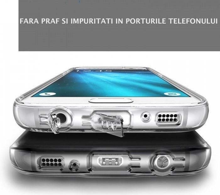 Husa Ringke AIR SMOKE BLACK + BONUS folie protectie display Ringke pentru Samsung Galaxy S7 5