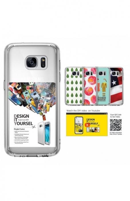 Husa Ringke FUSION ROSE GOLD + BONUS folie protectie display pentru Samsung Galaxy S7 6