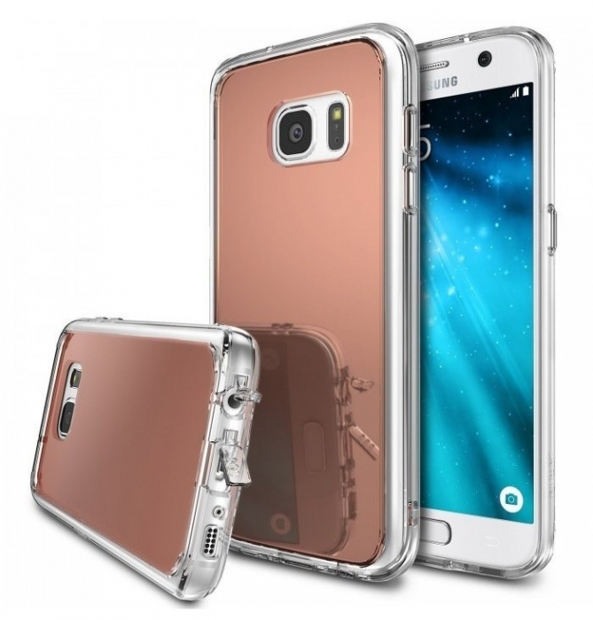 Husa Ringke MIRROR ROSE GOLD + BONUS folie protectie display Ringke pentru Samsung Galaxy S7 0