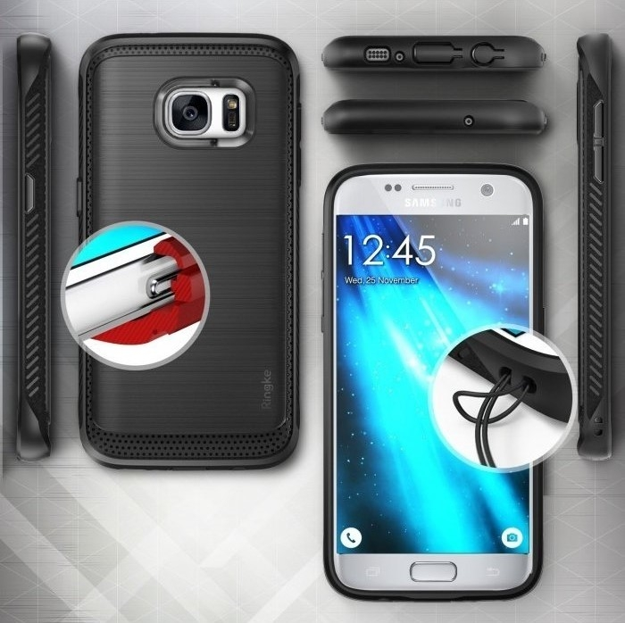 Husa Ringke ONYX MIST GREY + folie Ringke cadou pentru Samsung Galaxy S7 5
