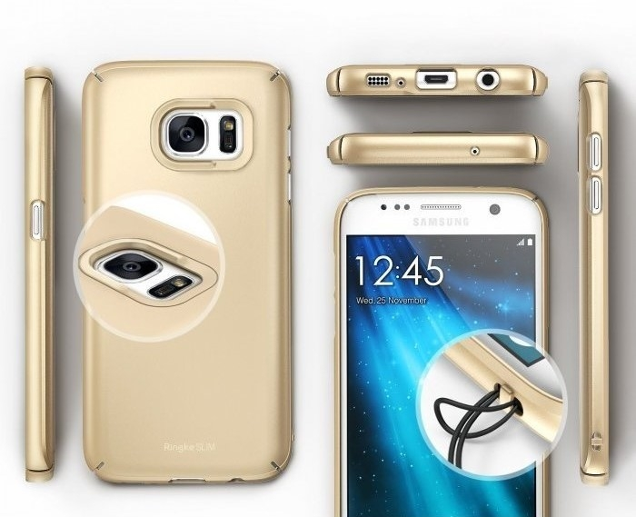 Husa Ringke SLIM ROYAL GOLD + BONUS folie protectie display Ringke pentru Samsung Galaxy S7 4