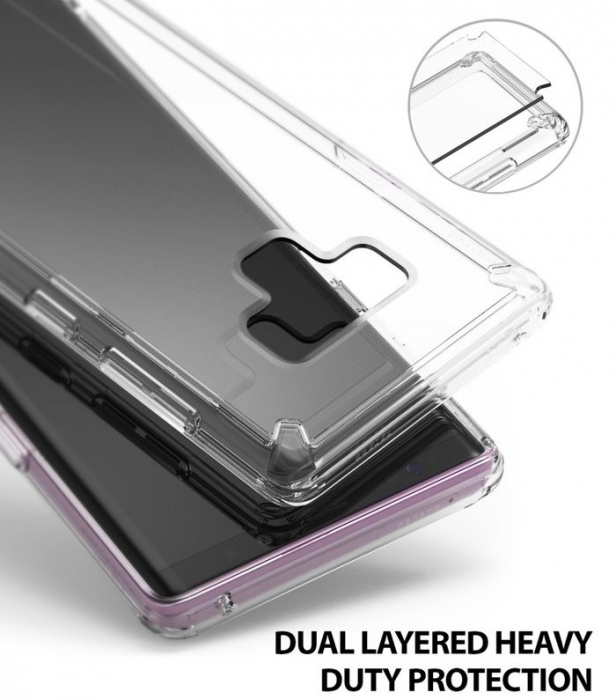 Set Ringke Air husa + portcard + strap transparent pentru Samsung Galaxy Note 9 6