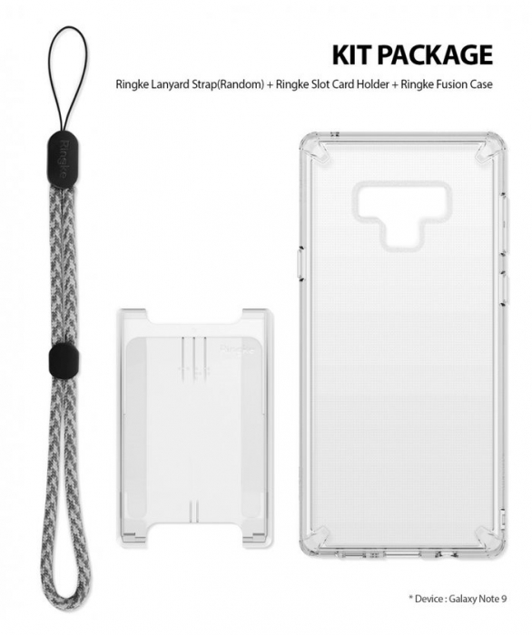 Set Ringke Air husa + portcard + strap transparent pentru Samsung Galaxy Note 9 0