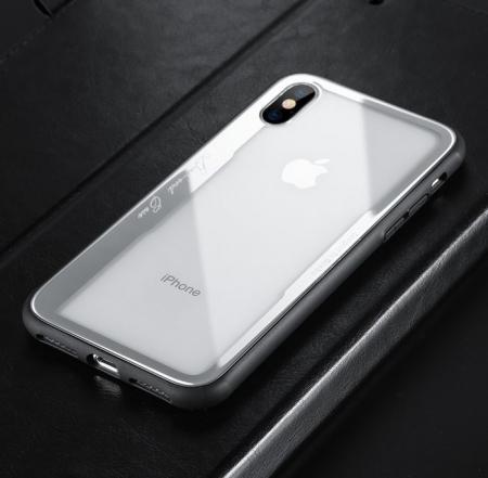 Husa Benks Shiny Glass Alb pentru iPhone X1