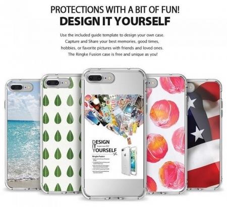 Husa Ringke FUSION ROSE GOLD + BONUS folie protectie display Ringke pentru iPhone 7 Plus / iPhone 8 Plus1
