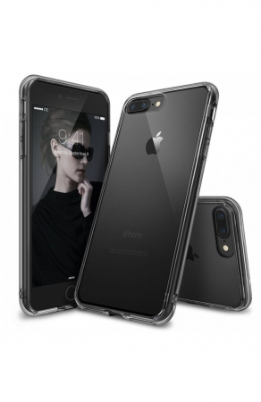 Husa Ringke FUSION SMOKE BLACK + BONUS folie protectie display Ringke pentru iPhone 7 Plus / iPhone 8 Plus0