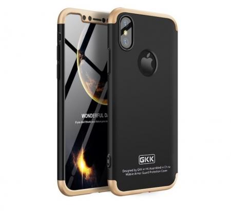 Husa iPhone X GKK 360 Logo Cut Auriu pentru iPhone X0