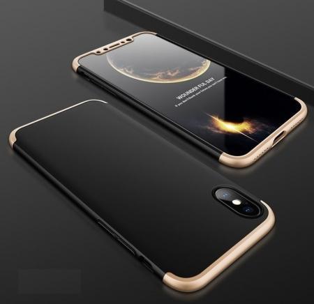 Husa iPhone X GKK 360 Logo Cut Auriu pentru iPhone X1