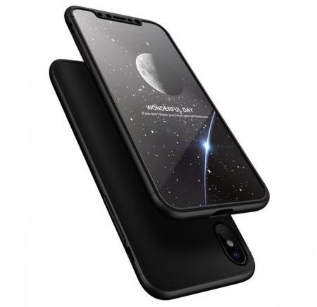 Husa iPhone X GKK 360 Logo Cut Negru + folie protectie display pentru iPhone X3