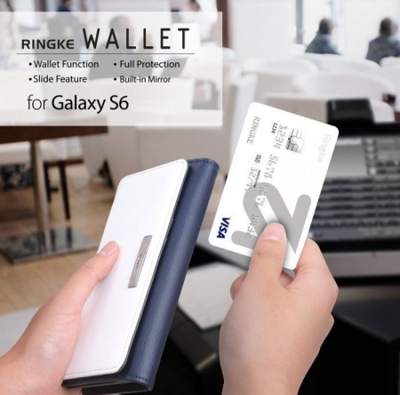 Husa Ringke WALLET ALB ALBASTRU pentru Samsung Galaxy S63