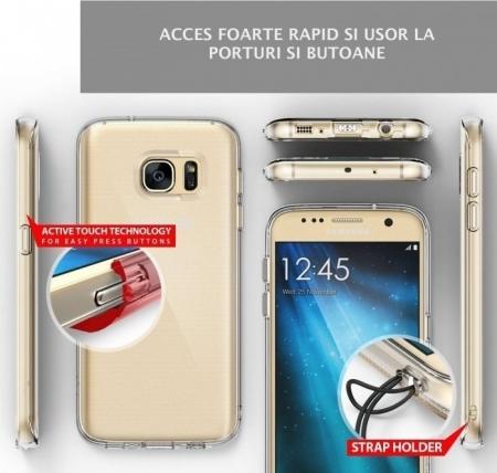 Husa Ringke AIR SMOKE BLACK + BONUS folie protectie display Ringke pentru Samsung Galaxy S76