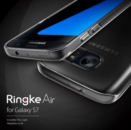 Husa Ringke AIR ROSE GOLD + BONUS folie protectie display Ringke pentru Samsung Galaxy S72