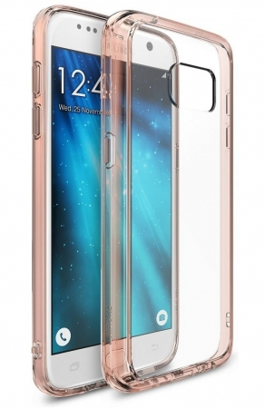 Husa Ringke FUSION ROSE GOLD + BONUS folie protectie display pentru Samsung Galaxy S70