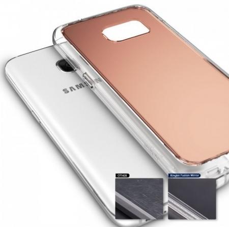 Husa Ringke MIRROR ROSE GOLD + BONUS folie protectie display Ringke pentru Samsung Galaxy S74