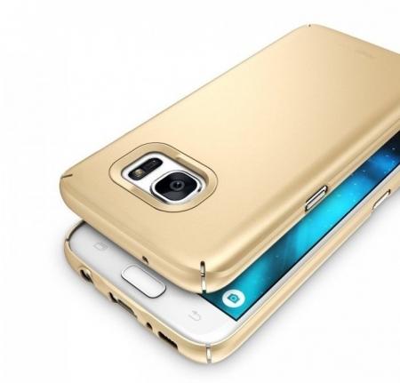 Husa Ringke SLIM ROYAL GOLD + BONUS folie protectie display Ringke pentru Samsung Galaxy S73
