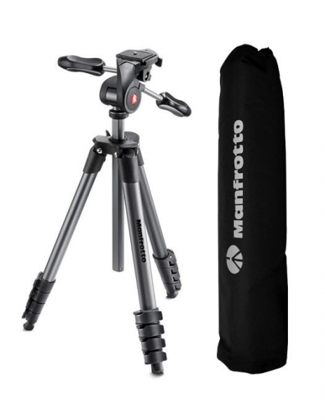 Manfrotto Compact Advanced kit trepied foto cu cap 3-Way si husa 0