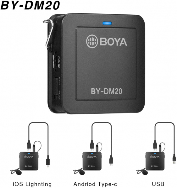 Boya BY-DM20 Kit lavaliera dubla pentru IOS si Android 6