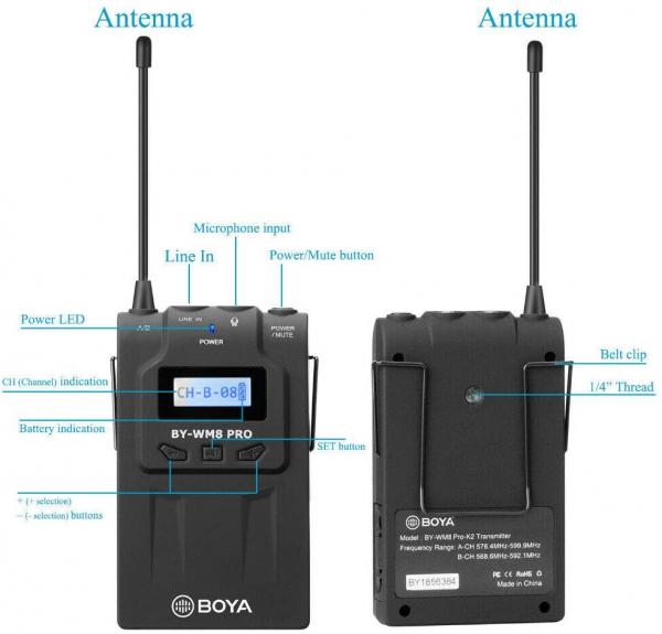 Boya BY-WM8 Pro K1 Kit lavaliera wireless UHF 2