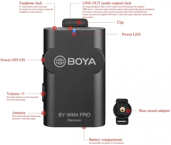Boya BY-WM4 Pro-K1 Microfon tip Lavaliera Wireless 12