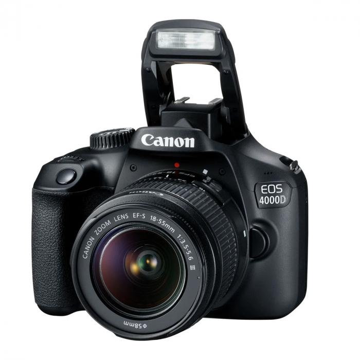 Canon EOS 4000D Kit Aparat Foto DSLR 18MP cu Obiectiv EF-S 18- 55mm f/3.5-5.6 III Negru [0]