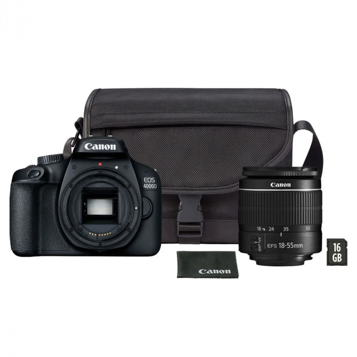 Canon EOS 4000D Kit EF-S 18- 55mm f/3.5-5.6 III cu geanta card si trepied [0]