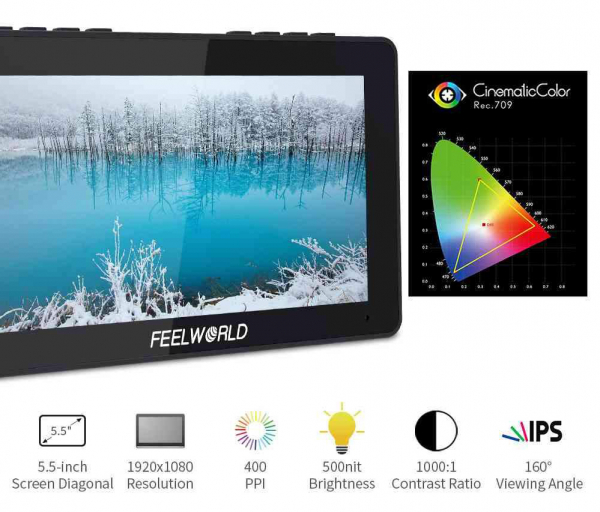 "Feelworld F5PRO Monitor IPS 4K 5.5"" Touchscreen HDMI 5"