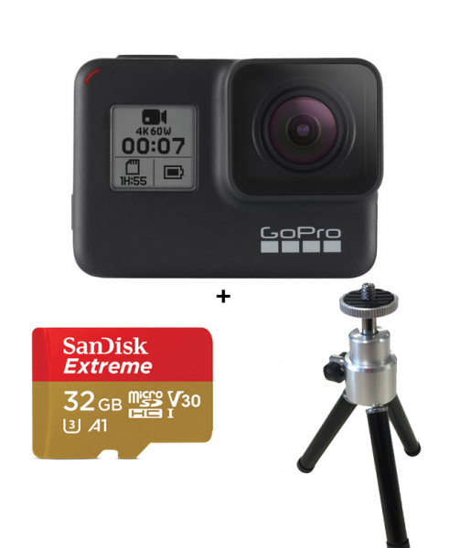 GoPro Kit Camera de Actiune 4K Hero7 Black + Card 32GB + Minitrepied 0