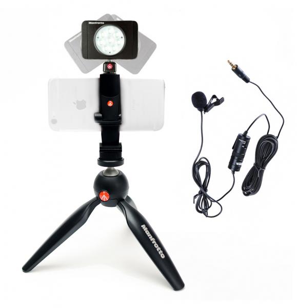 Manfrotto Kit pentru Vlogger LED8 Minitrepied cu lavaliera 0
