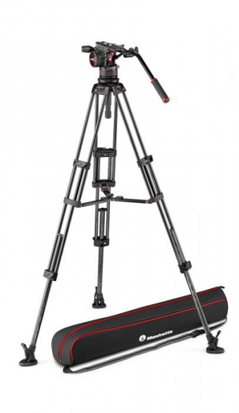 Manfrotto Nitrotech N12 KIT video carbon Twin leg cu mid-spreader 0