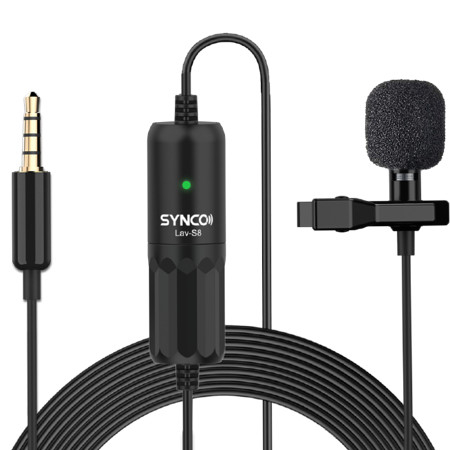 Synco S8 lavaliera cu fir 8m pentru camere, smartphoone, tablete sau recordere [0]