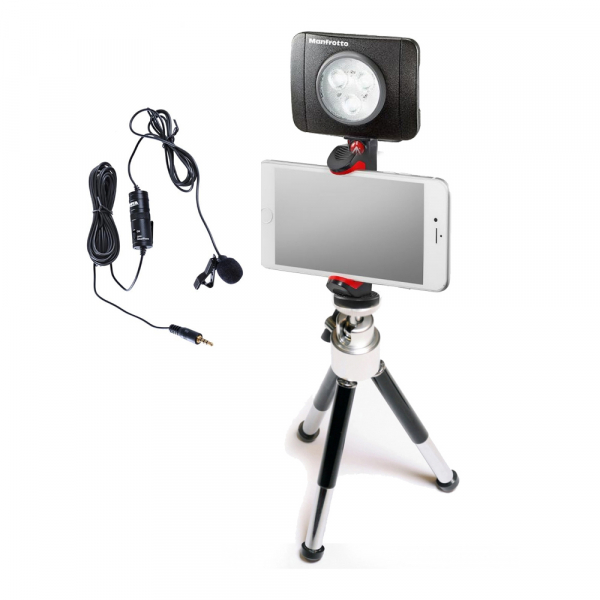 Primaphoto suport smartphone cu minitrepied si LED 3 pentru vlogging cu lavaliera 0