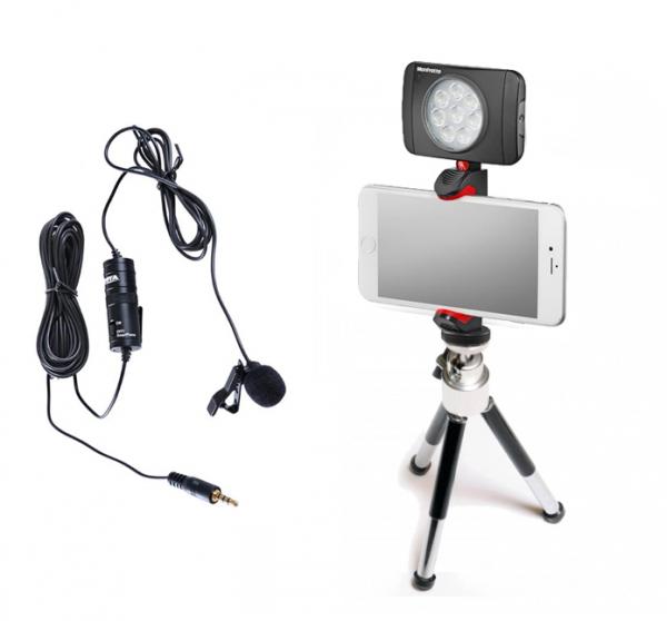 Primaphoto suport smartphone cu minitrepied si LED 8 pentru vlogging cu lavaliera 0