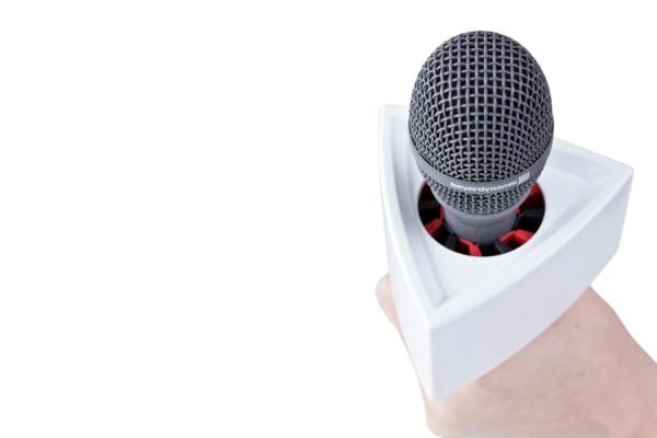 Rycote suport triunghilar logo brand reporter microfon alb [1]