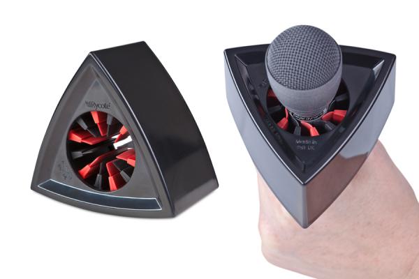 Rycote suport triunghilar logo brand reporter microfon negru 1